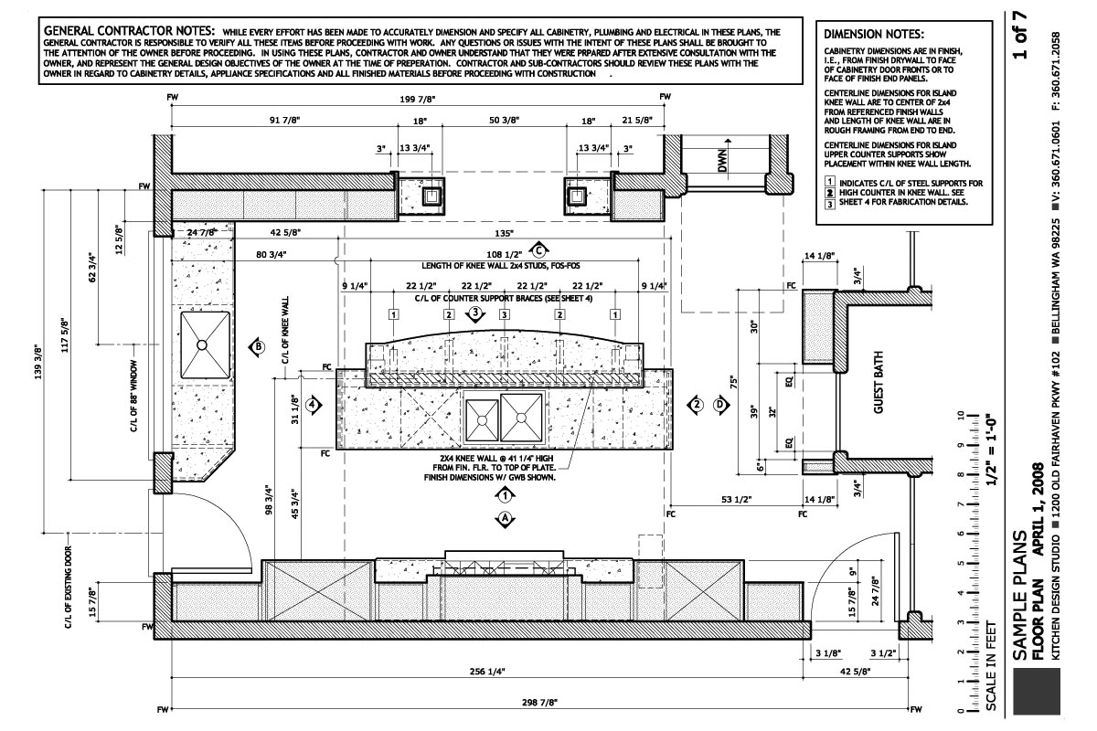 Kitchen construction design and layout - Construction Plans