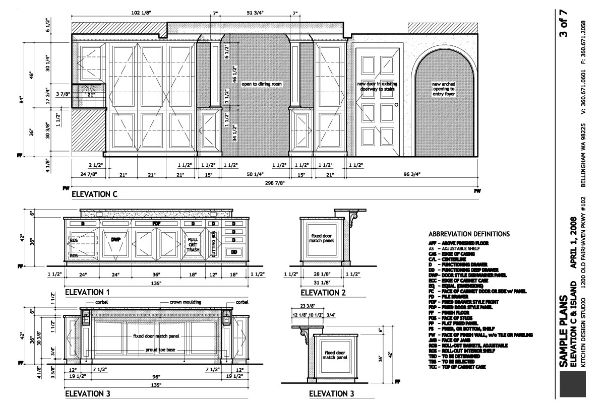 Island kitchen layout drawing - Construction Plans